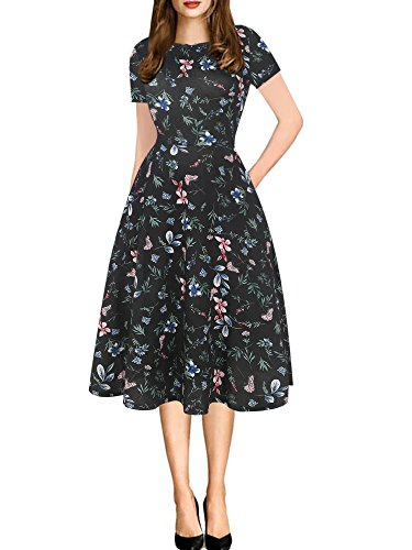 oxiuly Women's Chic Round Neck Floral Casual Pockets Tunic Party Cocktail Fit and Flare Swing Summer Plus Dress OX262 (XXL, Black Floral)