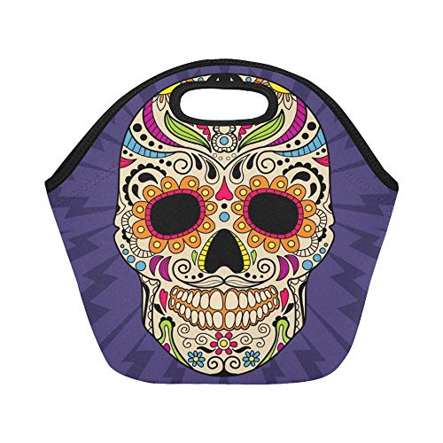 (Insulated Neoprene Lunch Bag Mexican Skull Original Large Size Reusable Thermal Thick Lunch Tote Bags For Lunch Boxes For Outdoors,work, Office,)