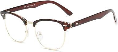 ENSARJOE Retro Classic Eyewear Half Frame Horn Rimmed Clear Lens Glasses Vintage Glasses