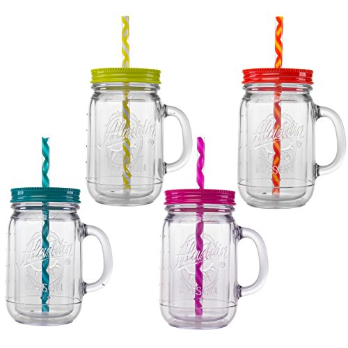 Aladdin 4 Piece 20 Ounce Plastic Mason Jars With Lid Set Handled Lidded Tumbler Drinking Cup Mug Glasses and Straws