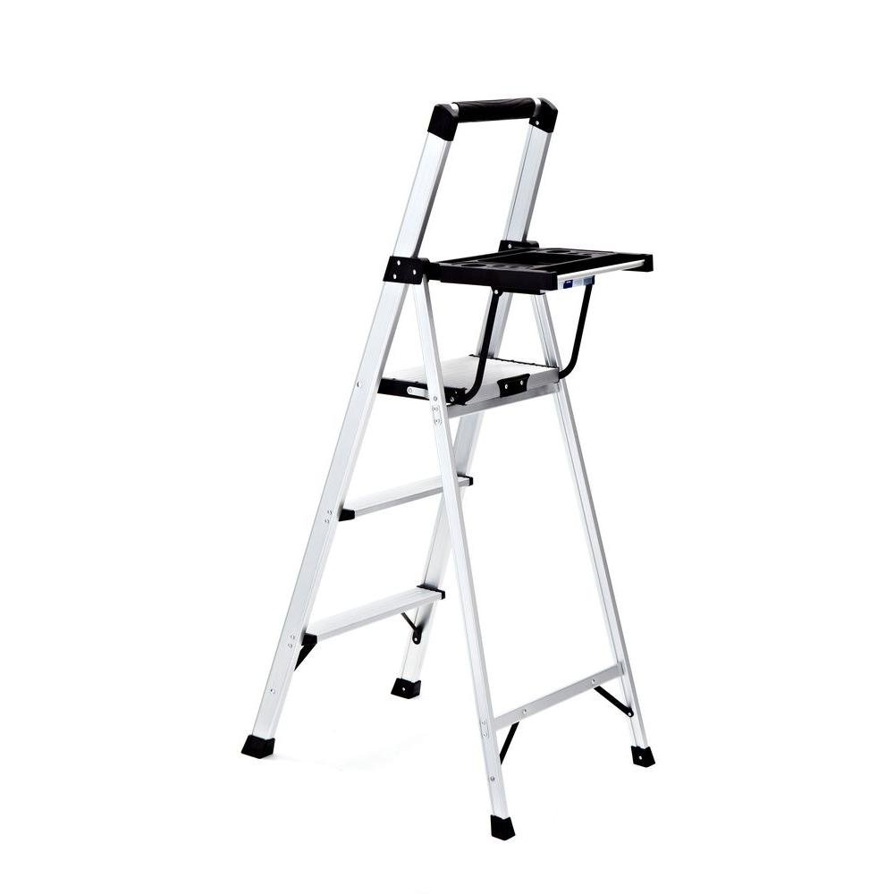 Rubbermaid 3-Step Aluminum Step Stool RMA-3XST-COM with Project Tray 250 lb. Load Capacity Type I Duty Rating