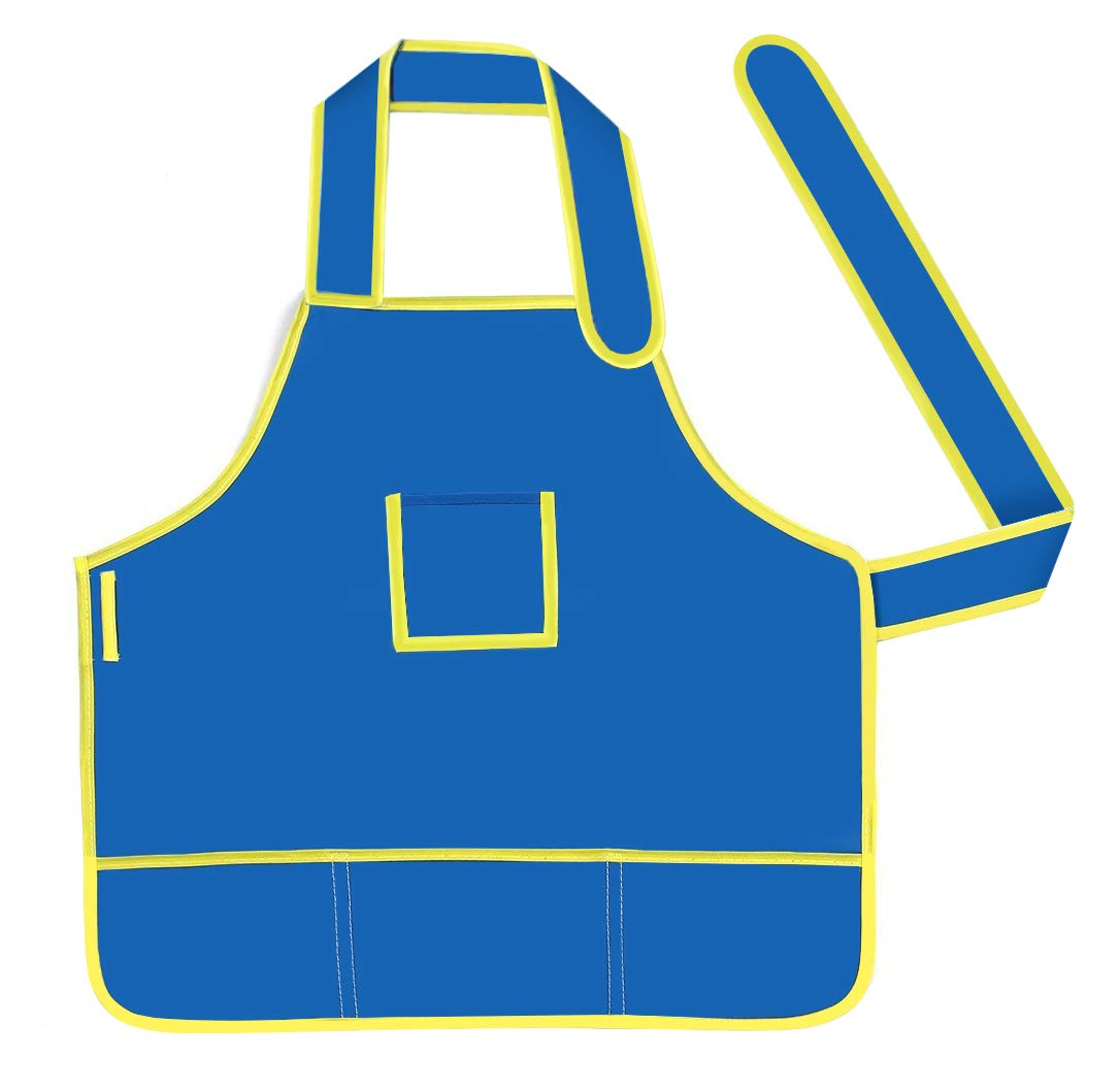 BeeChamp Waterproof Washable Oil Face Painting Apron School Kids, Little Chef Role Play Art Drawing Smock Set, Blue