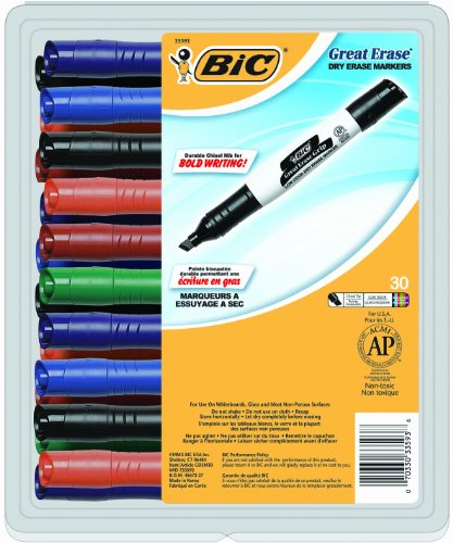Item: BIC Great Erase Grip Chisel Dry Erase Marker, Chisel Tip, Assorted Ink, 30 Coun