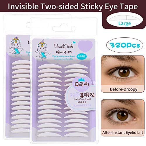 Invisible Double Eyelid Tapes, Ultra Natural Two-Sided Sticky Eye Tapes Stickers-Medical Fiber, Instant Eyelid Lift Without Surgery, Perfect for Hooded, Droopy, Uneven, Mono-eyelids (320Pcs, Large)