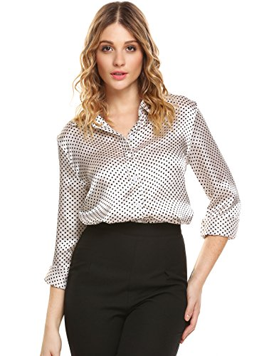 White Polka Dot Satin (Justrix Women Long Sleeve Fashion Polka Dot Shirt Wear To Work Ladies Blouse)