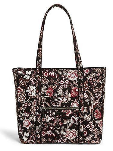 Vera Bradley Iconic Vera Tote, Signature Cotton (Black/Brown Vines Floral Neutral)