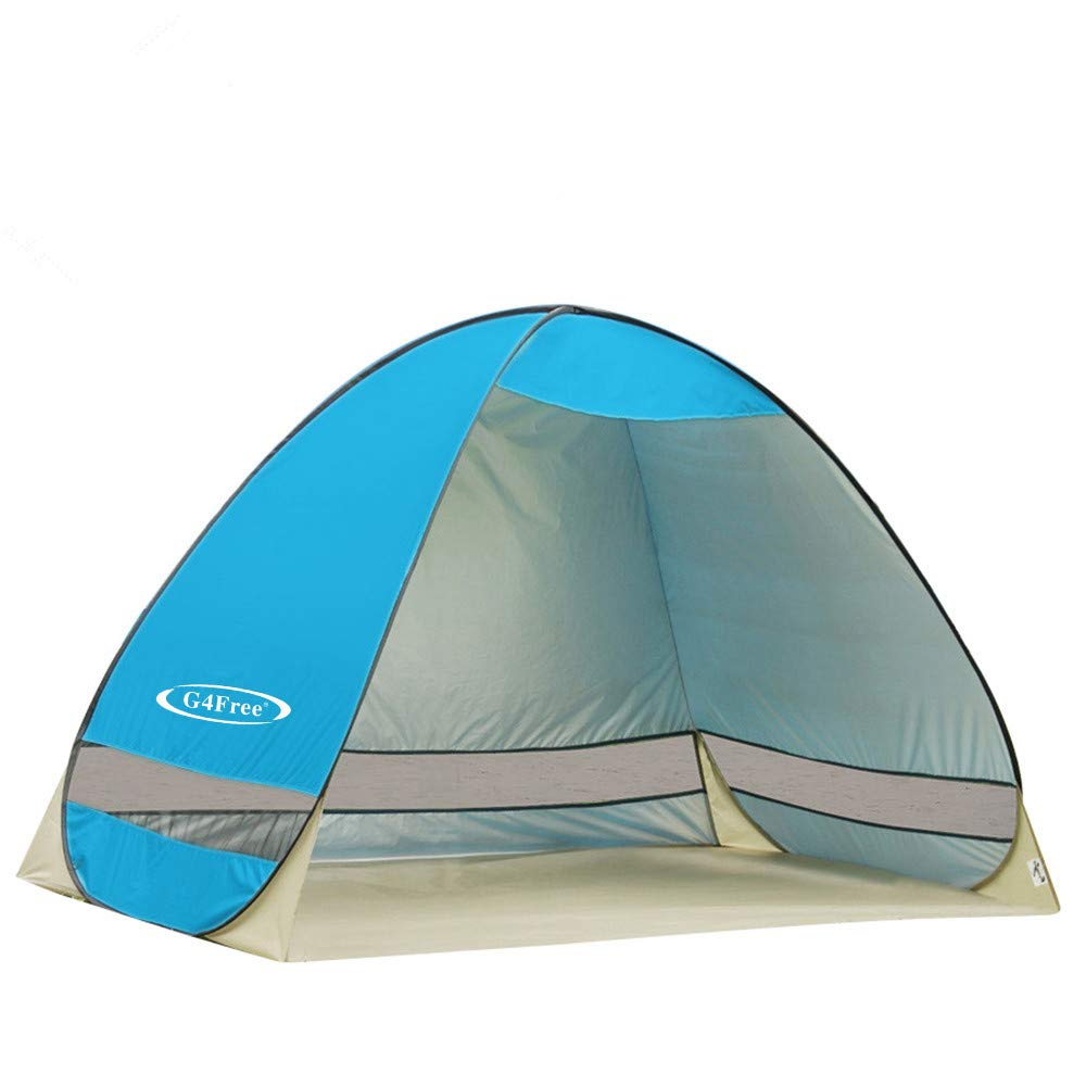 G4Free Outdoor Automatic Pop up Instant Portable Cabana Beach Tent 2-3 Person Camping Fishing Hiking Picnicing Anti UV Beach Tent Beach Shelter, Sets up in Seconds(Blue) by G4Free