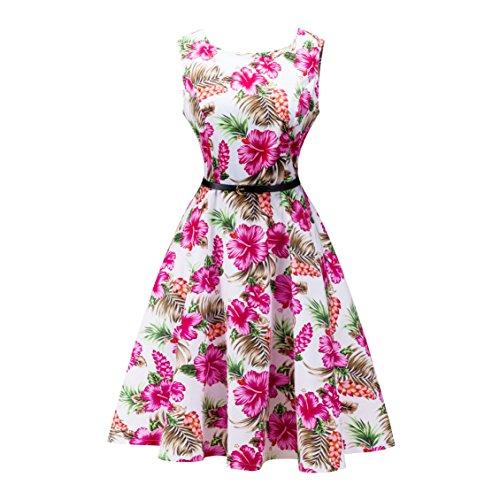 Yeokou Womens Sleeveless Floral Knee Length Cotton Hawaiian Flare Tank Dress (Large, Rose-Red)]()
