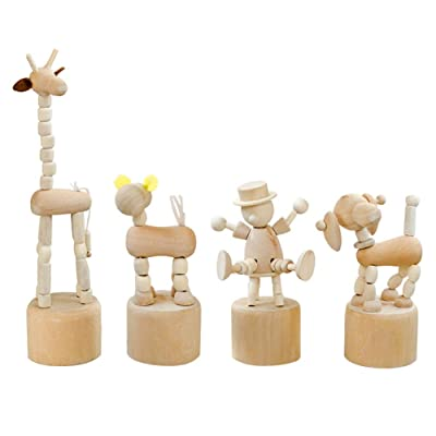 WANDIC Wooden Push up Toy, 4Pcs Finger Puppets Thumb Press Base Wooden Clown Puppets for Home Office Desk Decoration Children Toys Gift