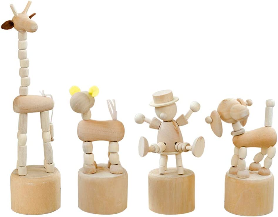 WANDIC Juguete de Madera para Empujar, 4 pcs Marionetas de Dedo Pulgar Prensa Base Payaso de Madera Marionetas para la Oficina En Casa Decoración de Escritorio Regalo de Juguetes para Niños