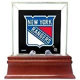 Steiner Sports Chicago Blackhawks Glass Single Puck Case with Team Logo Background