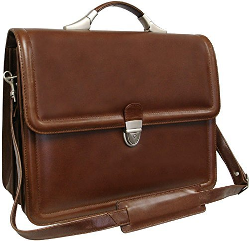 AmeriLeather APC Savvy Leather Executive Briefcase (Brown) - Case Leather Apc