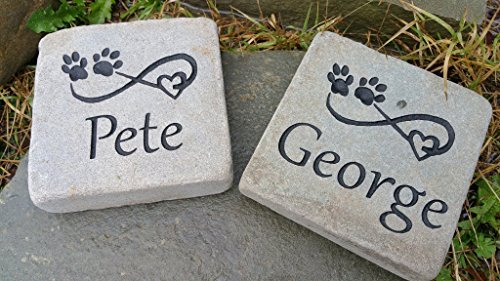 Custom Engraved Natural Stone, 6x6 - dog cat pet monument grave marker headstone tombstone designed with style for you.