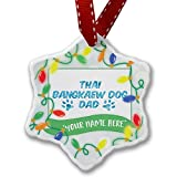 Personalized Name Christmas Ornament, Dog & Cat Dad Thai Bangkaew Dog NEONBLOND