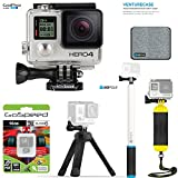 GoPro Hero4 Hero 4 12MP Full HD 4K 30fps 1080p 120fps Built-In Wi-Fi Waterproof Wearable Camera Black Adventure 16GB Edition with GoPole VENTURECASE, REACH, BOBBER, and Tripod Bundle