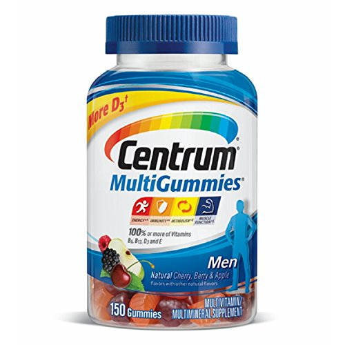Centrum Men MultiGummies (150 Count, Natural Cherry, Berry, Apple Flavor) Multivitamin / Multimineral Supplement Gummies