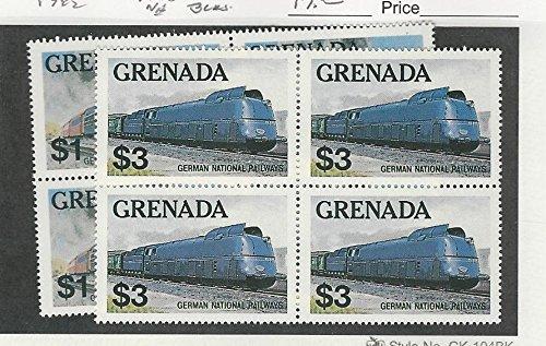 (Grenada, Postage Stamp, 1124-1125 Mint NH Blocks, 1982 Trains)