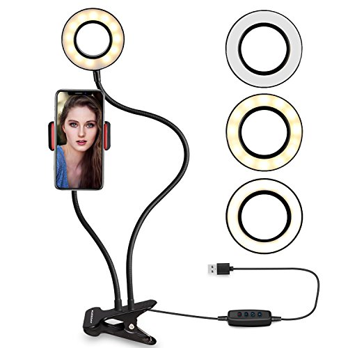 Ring light with cell phone holder stand for Live Stream, AUREDAY selfie light (3 Lighting Modes) (10-Level Brightness) with Lazy Bracket for iPhone, Android - Face Circle