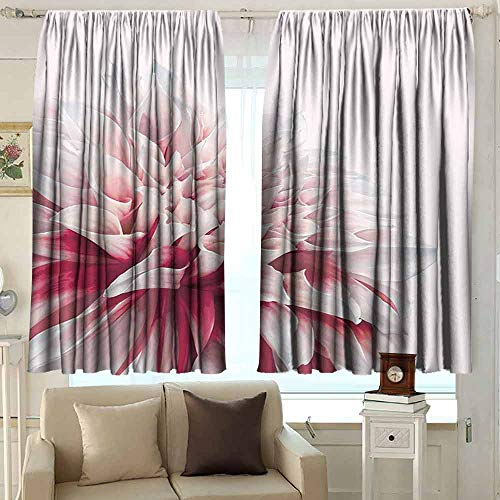 XXANS Bedroom Curtains,Dahlia,Insulated with Curtains for Bedroom,W63x72L Inches Ruby Ivory White