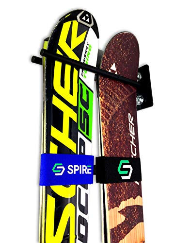 StoreYourBoard Couple Ski Wall Storage Rack, Steel Home and Garage Skis Mount, 2 Pack (Tip Steel Twin Skis)