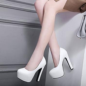 GTVERNH Damen/Women S/Pumps/Heels Mode Harte Sohle Hochzeit Einzelne Schuhe 14 Cm   Heels Die Wasserfesten Frauen...