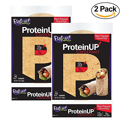 FLATOUT PROTEIN UP Carb Down RED PEPPER HUMMUS Flatbreads - 9g Net Carbs - 3 Watchers SmartPoints value per flatbread (2 Packs of 5 Flatbreads) (Flatbread Pepper)