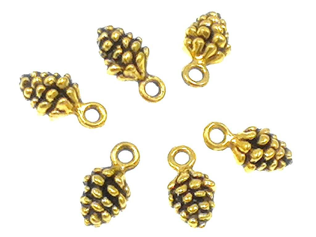31582cd9662 Amazon.com  Alimitopia 50pcs Christmas Pine Cone Small Pendant Nature Nuts  Charm for DIY Jewelry Making Accessories(Gold Tone)
