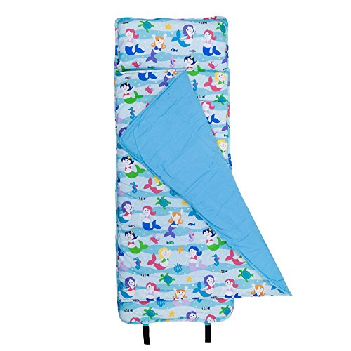 Wildkin Original Nap Mat, Features Built-In Blanket and Pillow, Perfect for Daycare and Preschool or Napping On-the-Go, Olive Kids Design – Mermaids