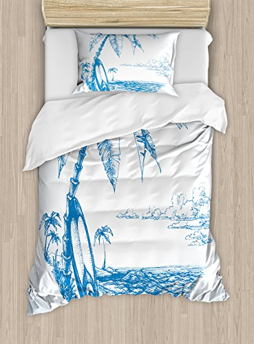 (Ambesonne Surf Duvet Cover Set Twin Size, Contemporary Sketch Illustration Hawaiian Beach with Surfboard Palms and Ocean Water, Decorative 2 Piece Bedding Set with 1 Pillow Sham, Blue and White)