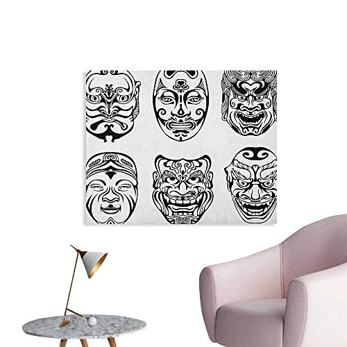 Anzhutwelve Kabuki Mask Home Decor Wall Japanese Nogaku Theatrical Masks Showing Emotions Expressions Culture Cool Poster Black and White W36 xL24