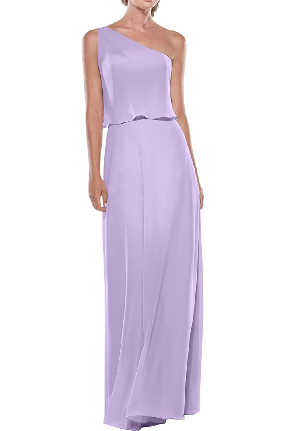 Gorgeous Bride Sheath One-shoulder Bridesmaid Prom Evening Dresses Long