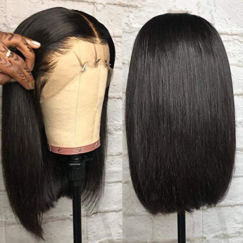 Short Bob Human Hair Lace Front Wig Brazilian Virgin Hair Glueless Silky Straight Hair Wigs with Baby Hair for Black Women 10A Grade 13x4 Lace Wig Natural Color 8 Inch - Wig 3/4 Human Hair