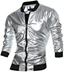 CIC Collection Men's Metallic Zip Up Varsity Baseball Bomber Jacket