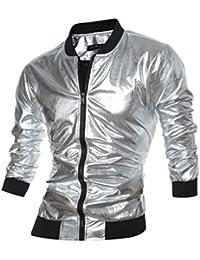 Men's Metallic Zip Up Varsity Baseball Bomber Jacket
