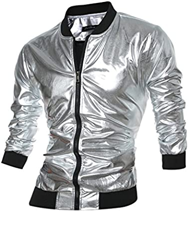 CIC Collection Men's Metallic Gold Front-Zip Jacket (Mens Metallic Silver Jacket)
