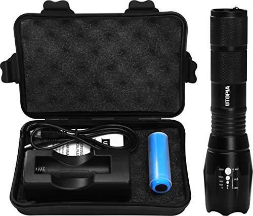 Handheld Tactical LED Flashlight- Zoomable and Adjustable Focus – 5 Lighting Modes – Rechargeable 18650 Battery – By Utopia Home