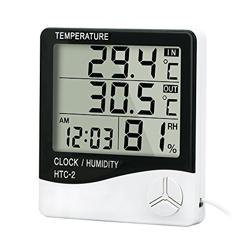 Price comparison product image Alinktrend High Accuracy Thermometer Hygrometer- TP331D All-in-one Memory Digital Electronic hygro-thermometer Timer,  Temperature and Humidity Meter,  Alarm Clock Probe for Indoor and Outdoor