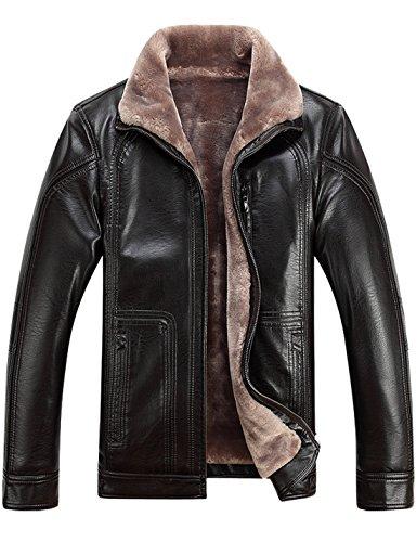 Tanming Men's Winter Warm Leather Coat Real Fur Hooded Leather Jacket (Medium, 1813Brown)