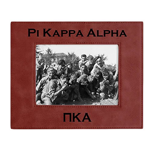 Express Design Group Greekgear Pi Kappa Alpha Pike 4 Inch X 6 Inch Leatherette Picture Frame Rose/Engraves Black ()