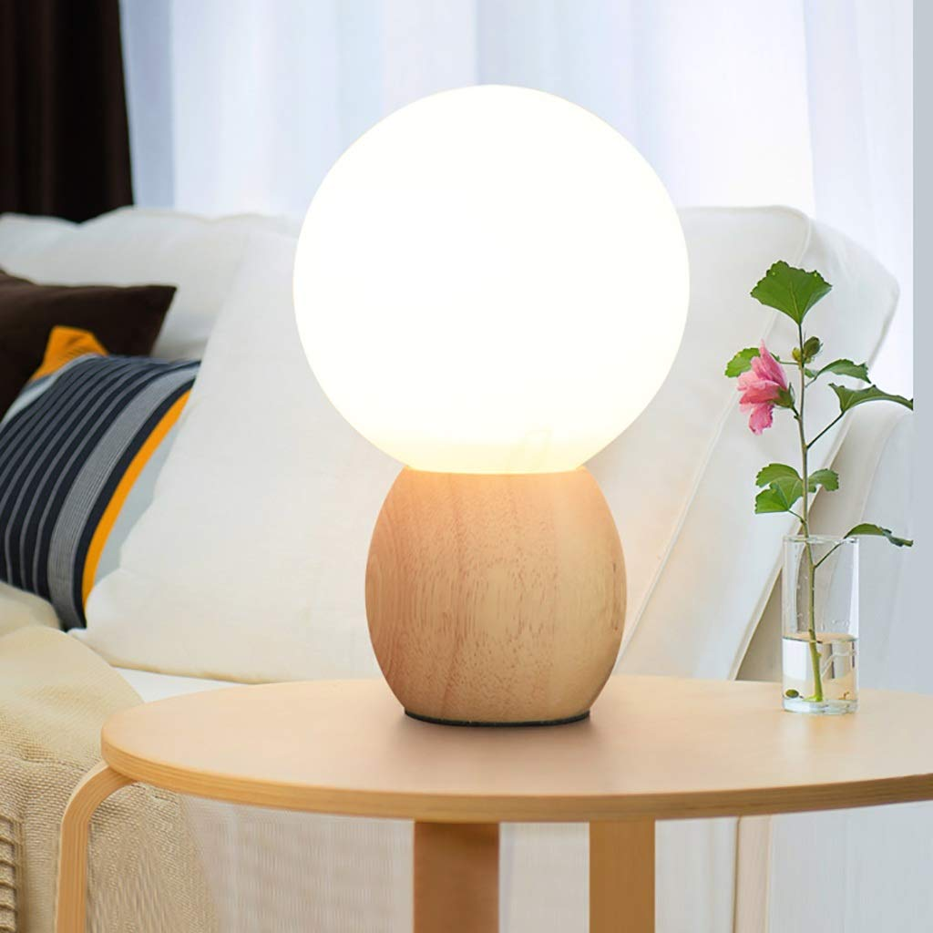 Milk White Ball Reading Table lamp Applicable Study Bedroom Eye Protection Solid Wood Small Table lamp Desktop Light