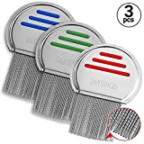 Lice Combs - (Pack of 3) Head Lice Treatment Comb That's Individually Package to Prevent Contamination Professional Stainless Steel Louse and Nit Combs Removes Eggs with Rounded Tips for Comfort