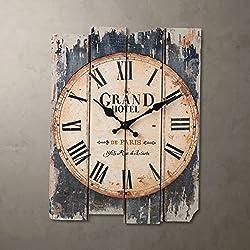 SMC H15 Wood Wall Clock, Retro Style Arabic Numerals Design Wooden Clock Gift Home Decorative for Room (MDF)