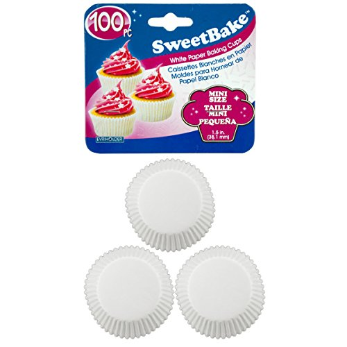 SweetBake Mini White Paper Baking Cups - Pack of 144