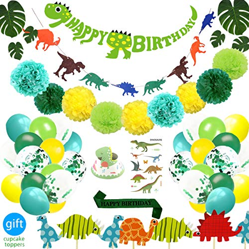Dinosaur Birthday Parties - 69 Pack Dinosaur Party Supplies Little Dino Party Decorations Set for Kids Birthday Party, Baby Shower, Bridal shower Decorations 69 Pack By REZIPO