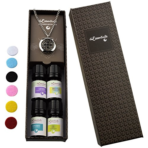 Cross Essential Oil Diffuser Necklace Stainless Steel Locket Pendant with 24 Chain+ 4 Essential Oils (Lavender, Peppermint, Inner Calm,Zen) Gift Set