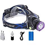 Glighone Linterna Frontal 2200 Lúmenes Hace Buena Luz XM-L T6 LED Impermeable y Adjustable Lámpara de Cabeza Bastante Ligero con Cargador, Baterías, USB Cable para Pescar, Montar en Bici, etc