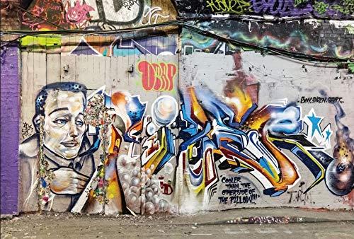 Leyiyi 10x6.5フィート 写真撮影 背景 グランジグラフィティ 壁用背景 3D ヴィンテージ 油絵 抽象工場 街 壁 町 コミック キャラクター カウボーイ ウェスタン パーティー 写真 ポートレート ビニール スタジオ 小道具   B07GGS5YFL
