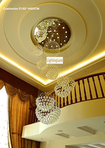 Siljoy 48 D X 137 H 20 Lights Luxury Clear Crystal Spiral Sphere Chandelier Galaxy Rain Drop Design Large Custom LED Lighting Fixture