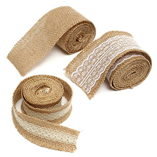(Maslin Overvalue 2M Retro Jute Hessian Burlap Ribbon with Lace Trim Belt Strap Fabric Craft Floristry Rustic Event Party Wedding Decor - (Color: Type 3))