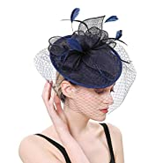 Hilary Ella Flax Net Face Veil Feather Fascinator for Women Cocktail Tea Party Derby Wedding Fascinators Hat